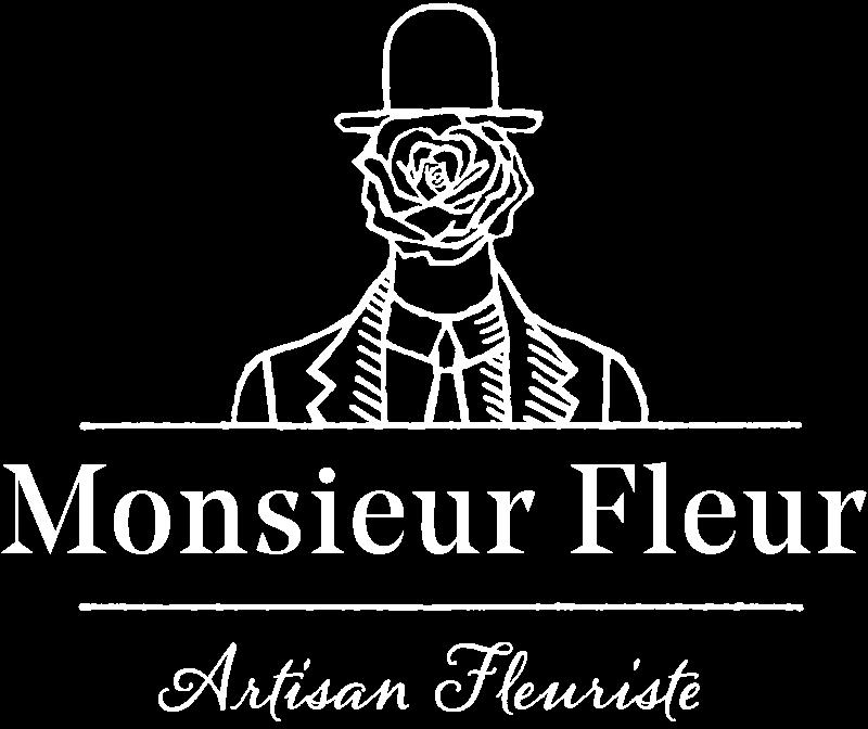 logo monsieur fleur baseline white